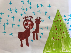 painting of Christmas tree and reindeer