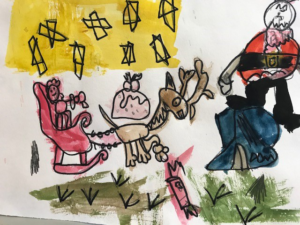 painting of Santa and his sleigh