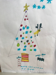 painting of Christmas tree