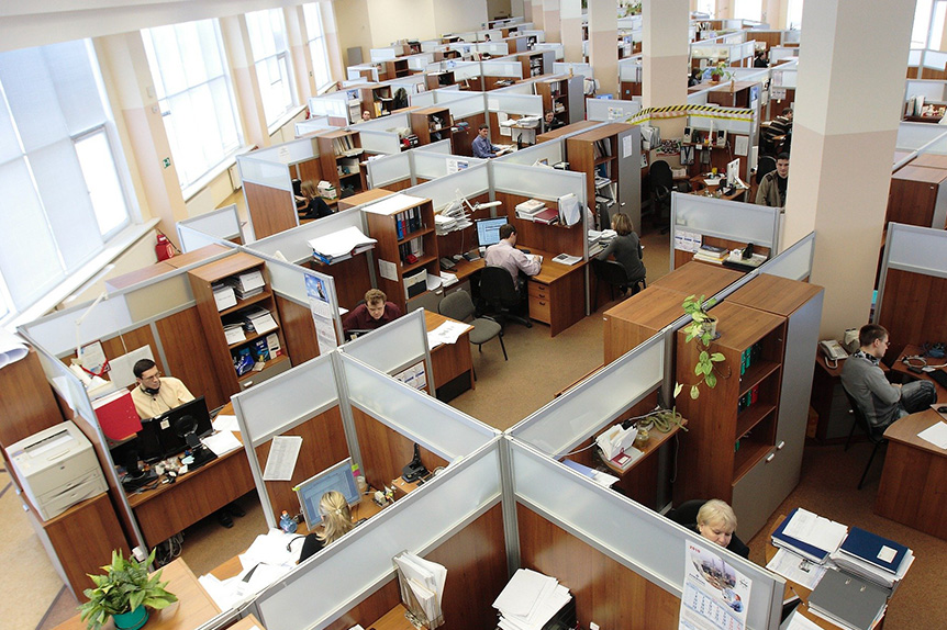 office employee distancing